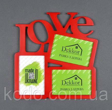 """Фоторамка мультирамка коллаж """"Love"""" из Дерева на 3 фото 10х15 см, фото 2"""