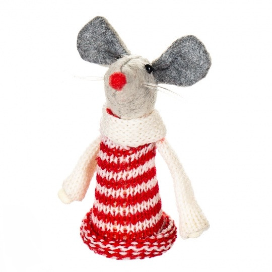 """Игрушка """"Белая мышка в вязаном свитере"""""""