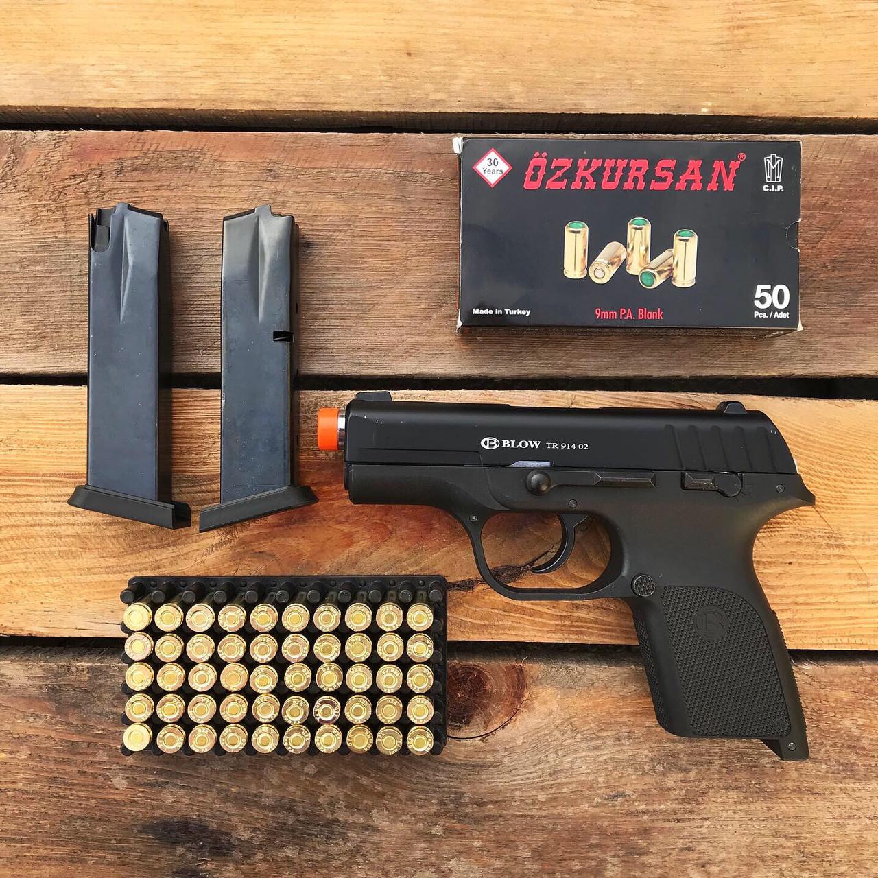 Стартовый пистолет Blow TR 91402 + 50 патронов Ozkursan 9 мм (черный)