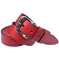 Женский кожаный ремень джинсовый JK-4080 red (4 см)