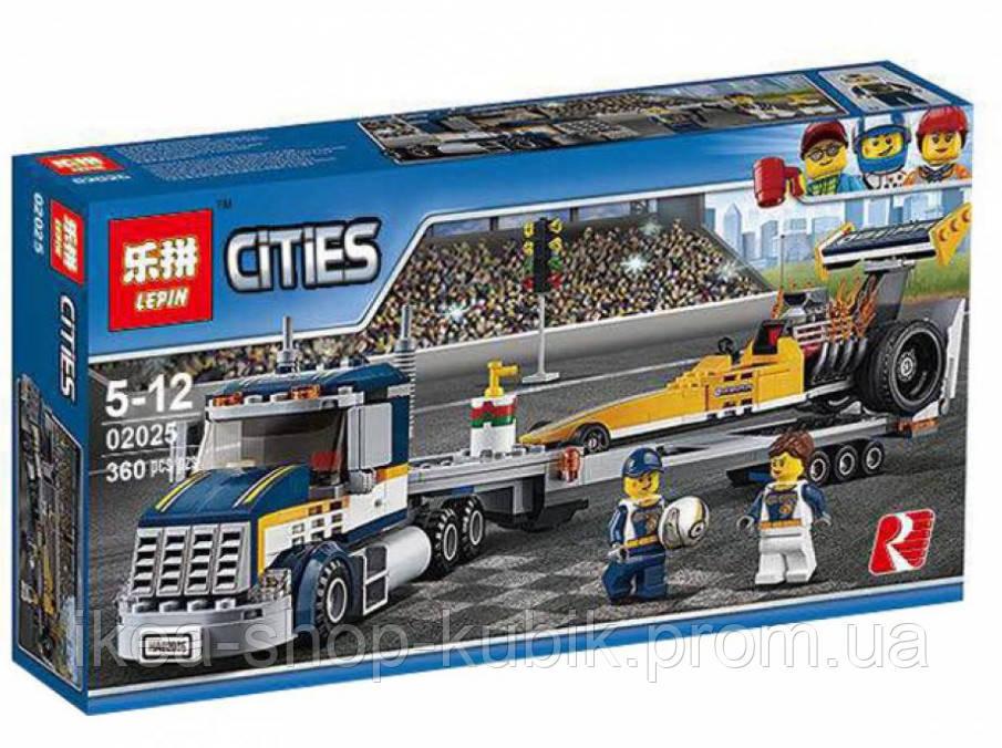 "Конструктор Lepin 02025 (Аналог Lego City 60151) ""Грузовик для перевозки драгстера"" 360 деталей"