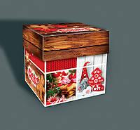Новогодняя подарочная коробка для конфет, Кубик, Новогодняя картонная упаковка для конфет, 500 грамм