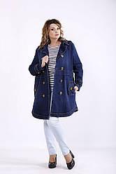 Удлиненная джинсовая куртка синего цвета