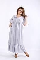 Светло серое летнее длинное платье из льна | 01183-3 GARRY-STAR