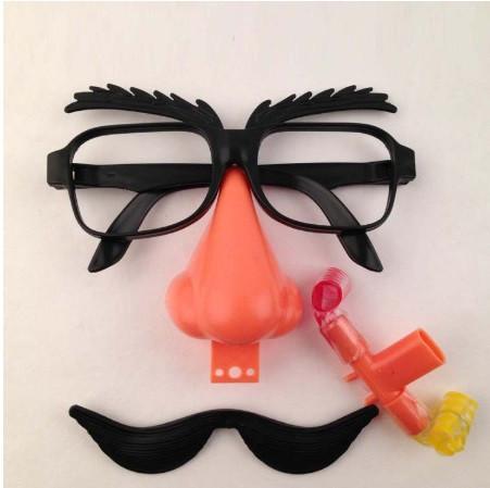 Маска для Хэллоуина, очки с носом и усами - размер 14*14см, пластик