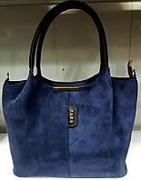 Женская замшевая сумка Zara из эко-кожи 31*23 (см) синего цвета, фото 1