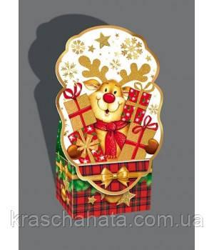 Новогодняя коробка, Олень с подарками, 800 гр, Картонная упаковка для конфет