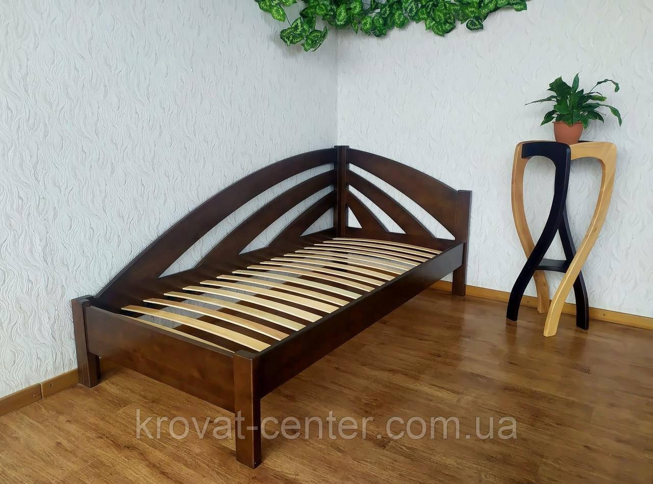 """Угловая односпальная кровать из массива дерева """"Радуга"""" от производителя 90х200, 7 цветов на выбор"""