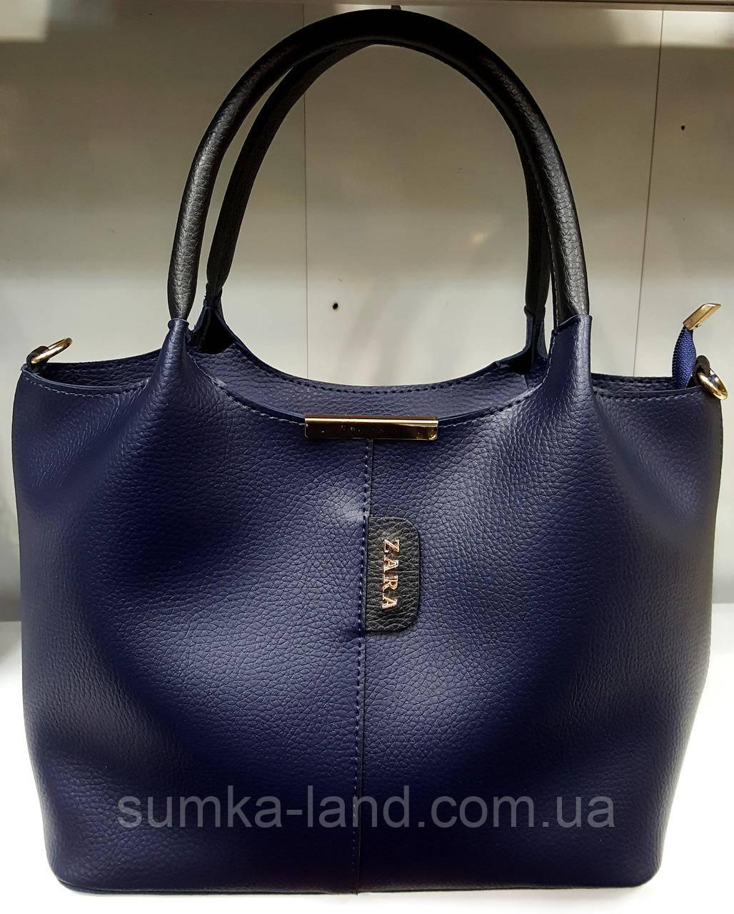 Женская сумка Zara из эко-кожи 31*23 (см) синего цвета