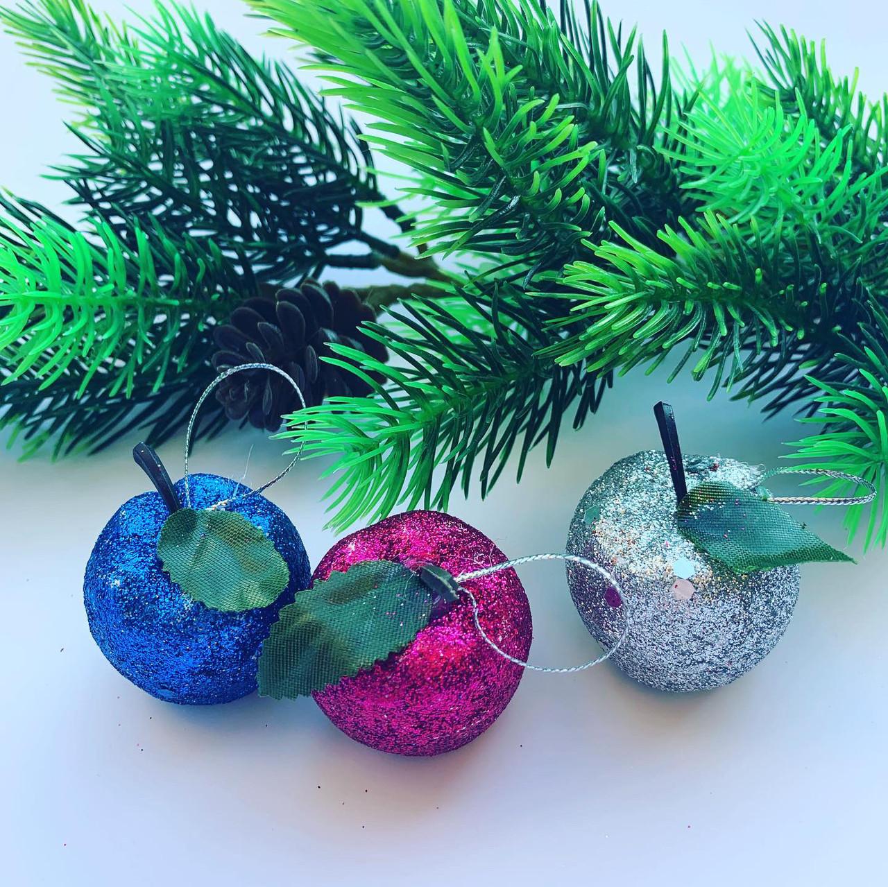 Новогоднее украшение.Яблочки цветные(6шт)