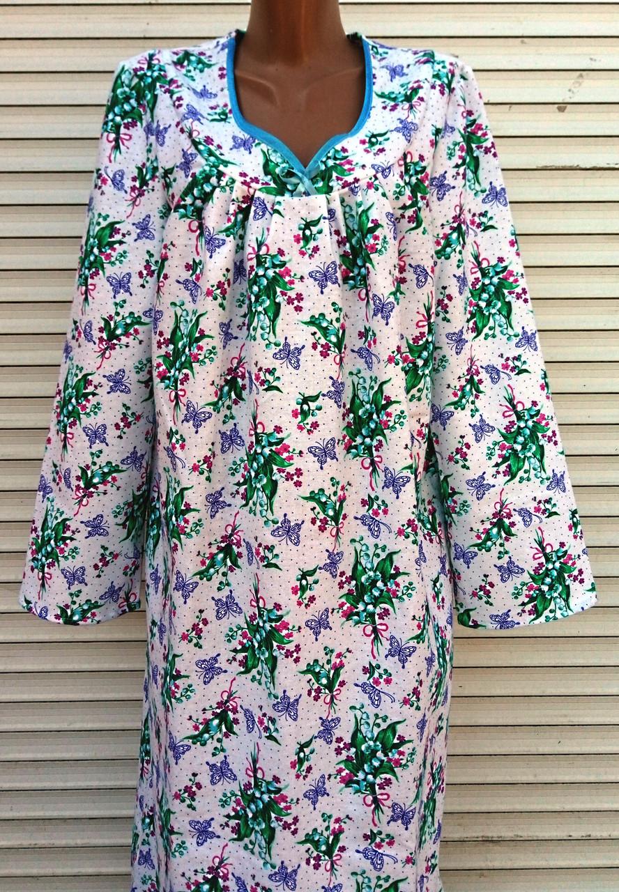 Теплая ночная рубашка из фланели 48 размер