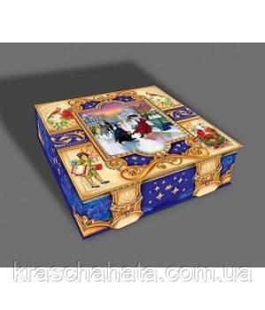 Новогодняя коробка, Ретро,  2000 гр, Картонная упаковка для конфет и подарков