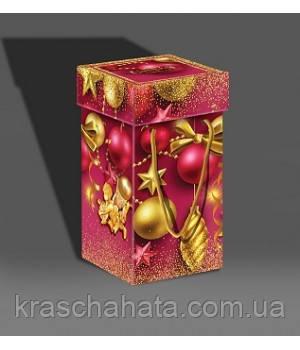 Картонная новогодняя  коробка с крышкой, 1000 гр