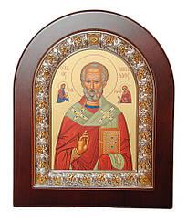 Икона Николая Чудотворца 15,6 х 19 см в серебряной рамке с позолотой