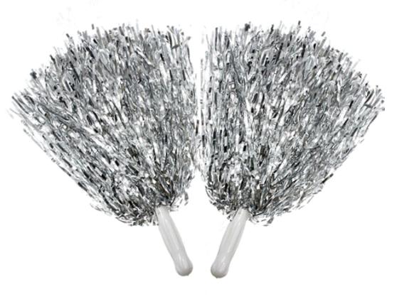 Помпоны для черлидинга серебристые