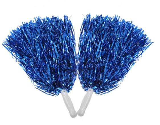 Синие помпоны для группы поддержки