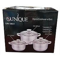 Набор 3кастрюль с крышками UNIQUE UN-5031 2.1 / 2.9 / 3.9, фото 1