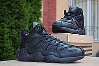 Мужские зимние кроссовки в стиле на меху Adidas Equipment FYW S-97, кожа, черные 46 (29 см)