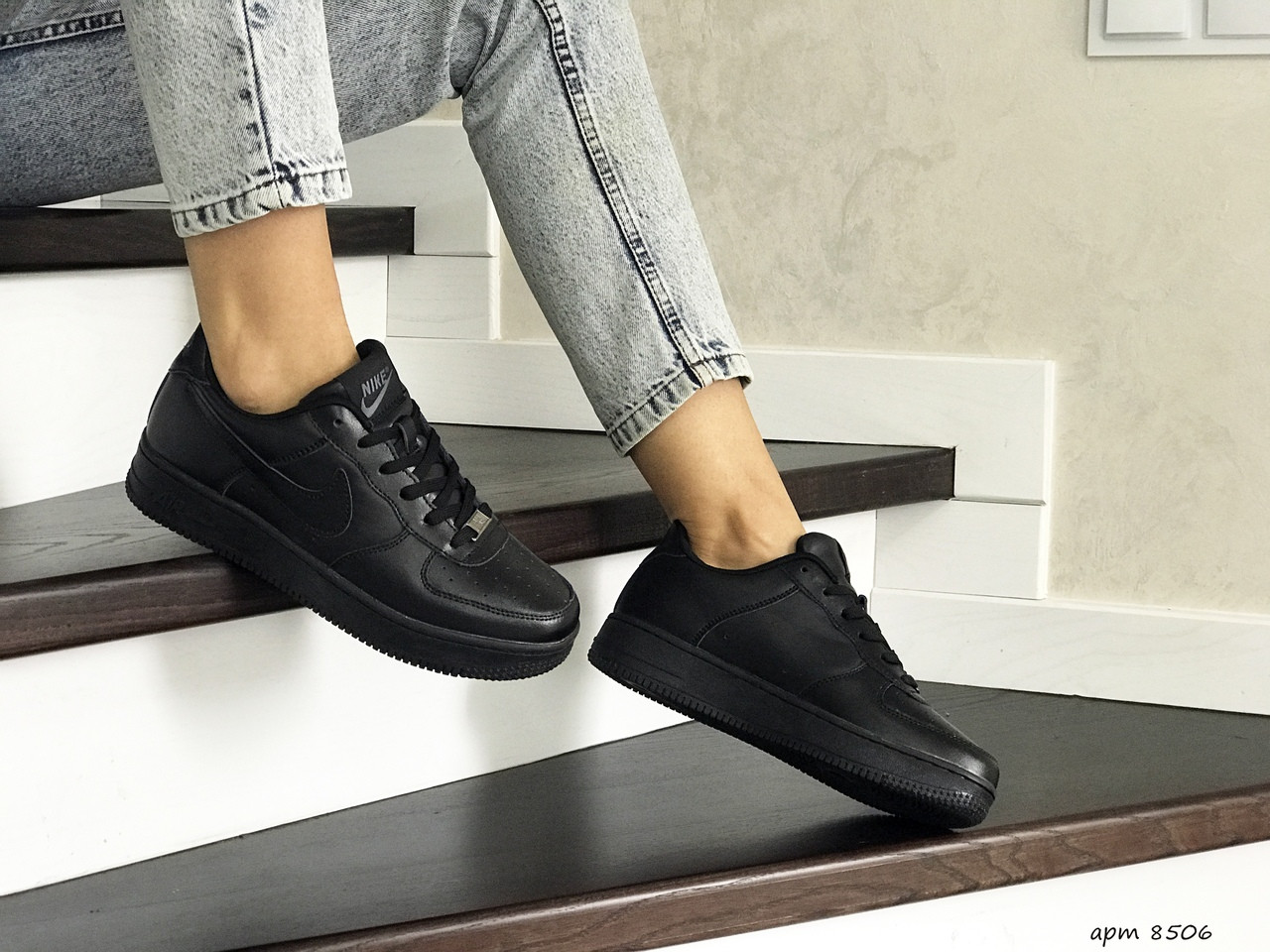 Кроссовки кеды женские найк аир форс демисезонные черные (реплика) Nike Air Force Black