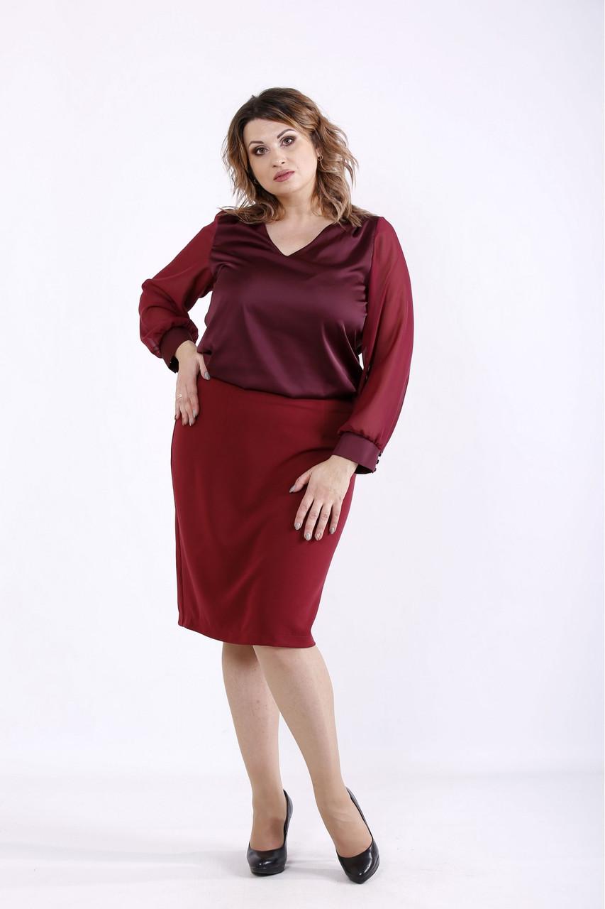 01289-2 | Бордова нарядна блузка великого розміру 42-74