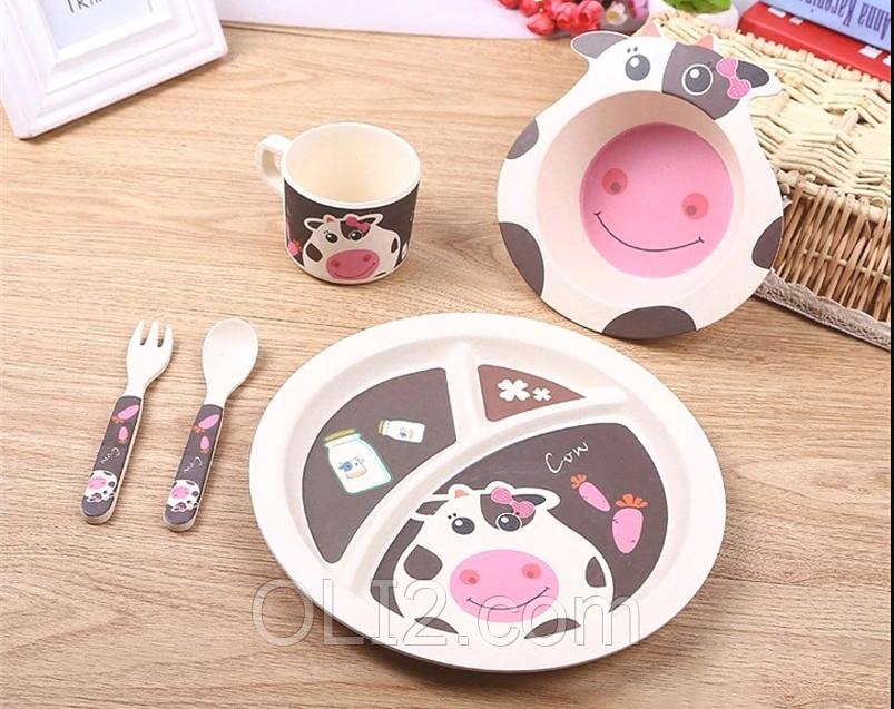 Набор детской бамбуковой посуды 5 предметов