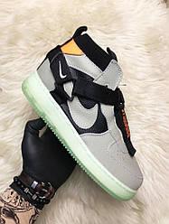 Мужские кроссовки Nike Air Force Night Neon (серые)