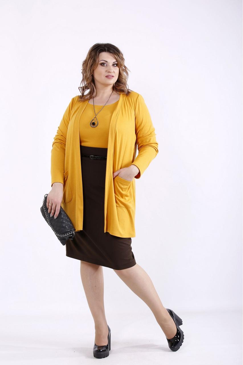 01292-3   Оранжевый комплект: накидка и блузка батал 42-74