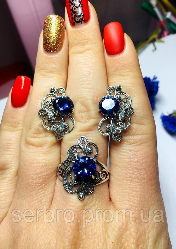 Срібний комплект з синім фианитом Прима