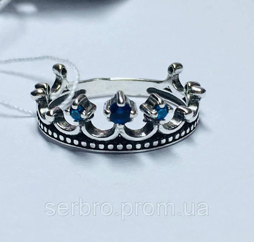 Кольцо в серебре с синим фианитом Корона