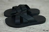 Мужские шлепанцы в стиле On The Top, кожа, пена, черные *** 40 (26,5 см)
