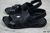 Мужские сандали в стиле Cardio, кожа, полиуретан, черные *** 40 (25,5 см)
