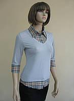 Блуза в офисном стиле, выполненная как рубашка+пуловер