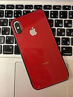 Скляний чохол на iPhone X Червоний | Стеклянный чехол на iPhone X Красный
