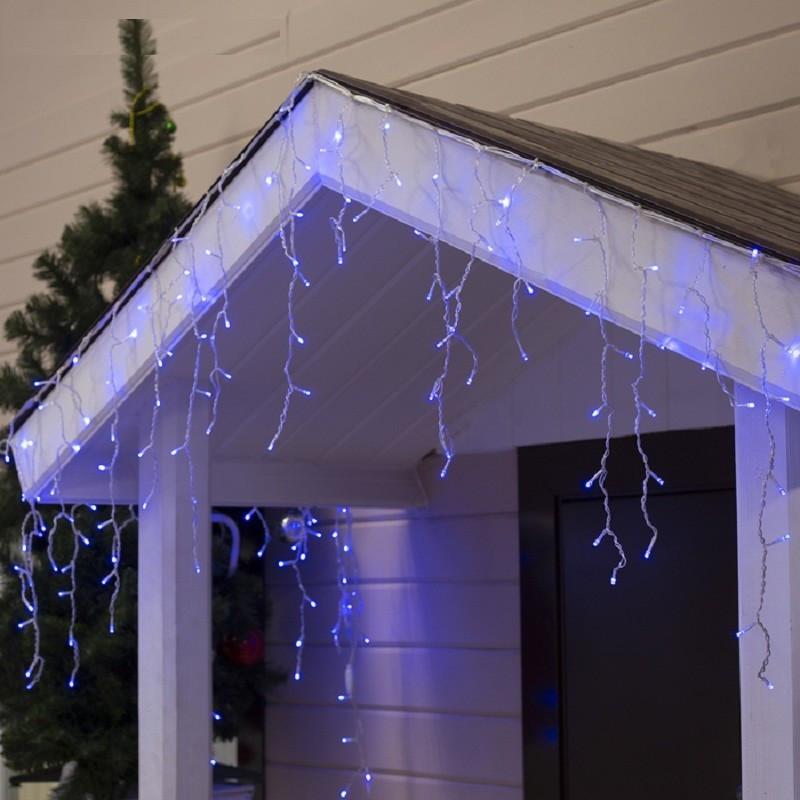 Гирлянда Бахрома (сосулька-штора) 120 LED 0.5 x 3м 5mm на прозрачном проводе синий цвет