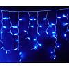 Гирлянда Бахрома (сосулька-штора) 120 LED 0.5 x 3м 5mm на прозрачном проводе синий цвет, фото 3