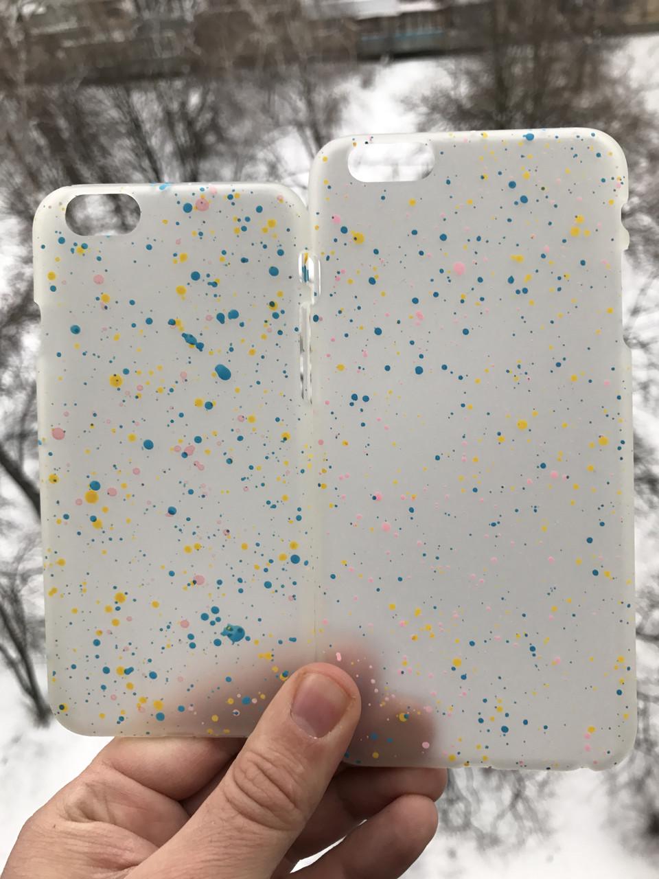 Чехол бело-желтый  iphone 6/6s plus + защитное стекло на экран в подарок