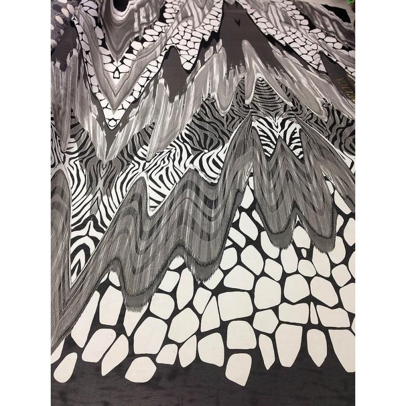 Шифон принт - абстракция черным и белым цветом