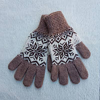 """Женские шерстяные перчатки """"Снежинки"""""""