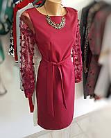 Платье с красивыми прозрачными рукавами с нашивками