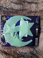 """Люминесцентные наклейки """"Луна со звездами"""" - в наборе 4шт., пластик, есть 2-х сторонний скотч"""