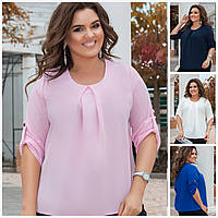 Батал до 60р Женская блузка с регулирующимся рукавом 20204, фото 1