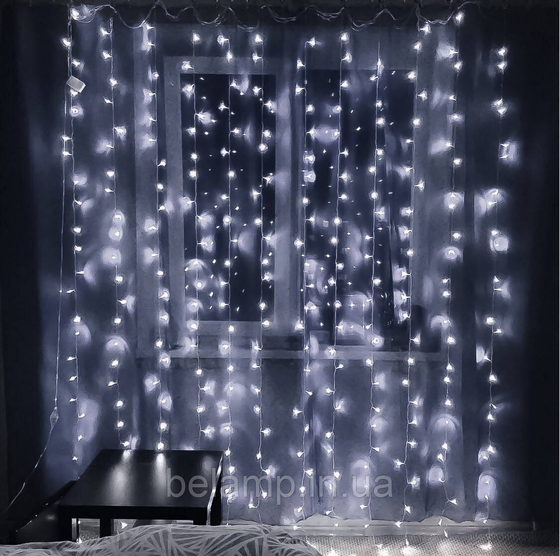 Новогодняя гирлянда штора 3 м.на 3 м  на окно «Белоснежная»