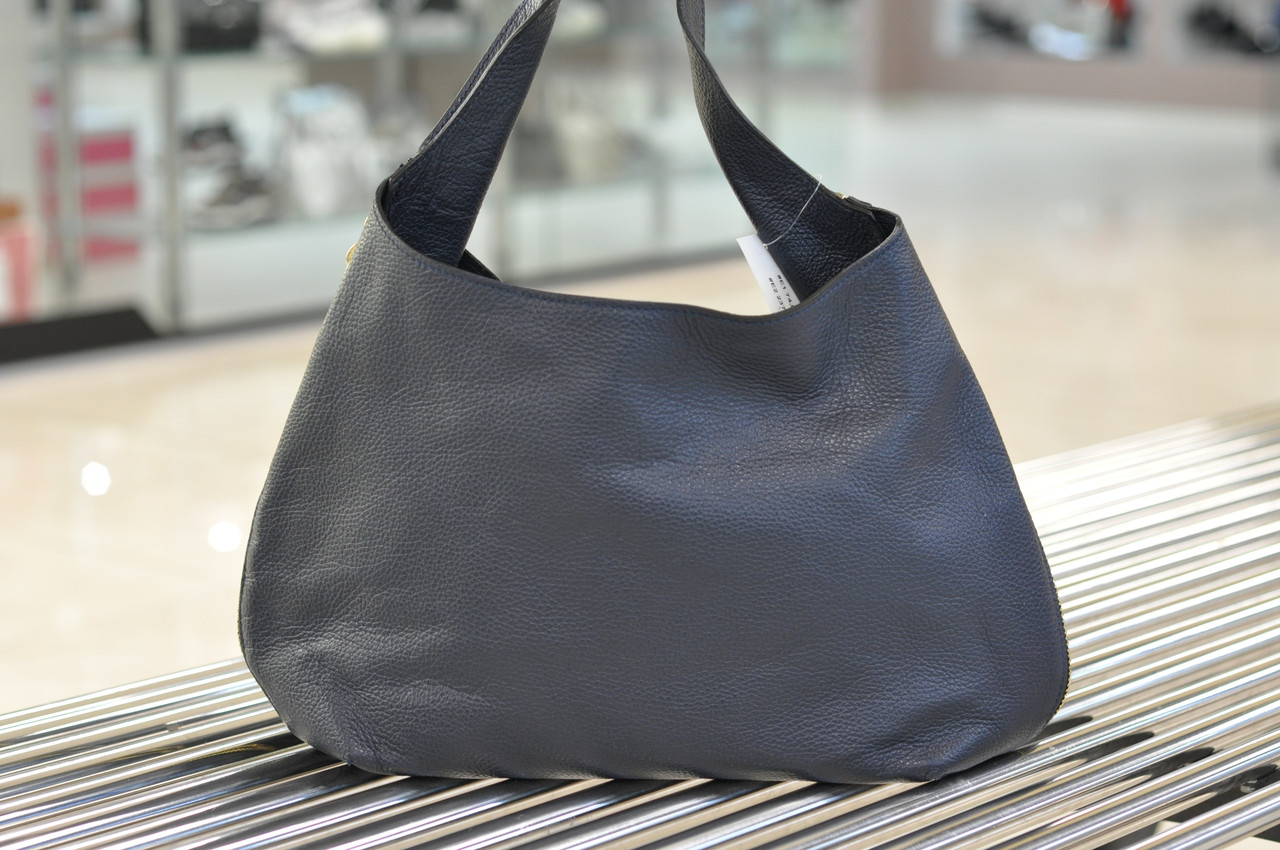 Большая синяя кожаная сумка 1050
