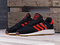 Мужские кроссовки в стиле Adidas Iniki Runner Boost, замша, сетка, пена, черные с красным 45 (29 см)