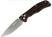 Нож складной, с накладками на рукояти из черного дерева, удобен и правшам и левшам, теплый на морозе, фото 1