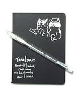 Блокнот с черными страницами 14,5 см. + ручка с белыми чернилами