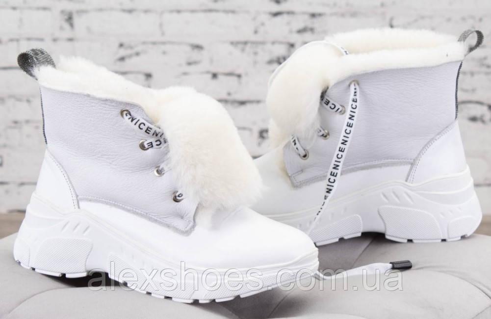 Ботинки молодежные зима на толстой подошве из натуральной  кожи от производителя модель БС6015