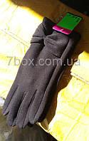 Перчатки женские черные тонкие на байке трикотаж ОПТом. Ronaerdo Бант Китай 12 шт