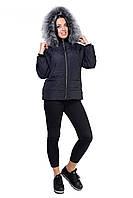 Женская куртка графитового цвета утепленная синтепоном, фото 1