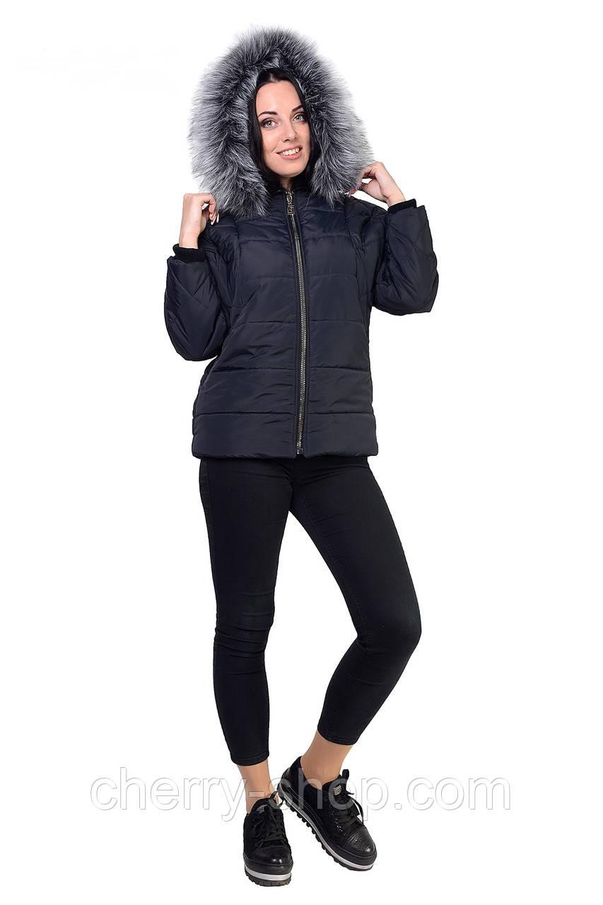 Женская куртка графитового цвета утепленная синтепоном
